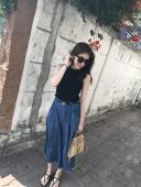 X29-丹寧寬褲裙(現貨)