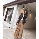 Q13-蜜桃絲質寬褲裙(預購)