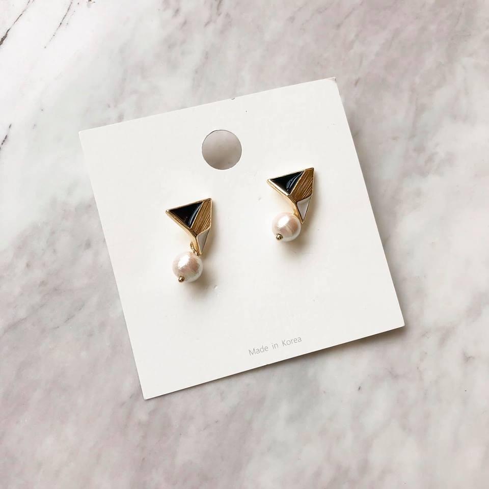 A9435-幾合圖形珍珠耳環(預購)