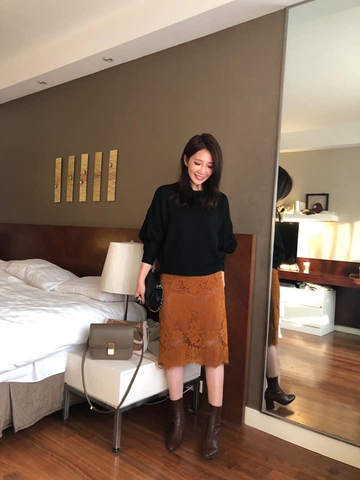 D1238-絨布蕾絲裙-黃M(現貨)