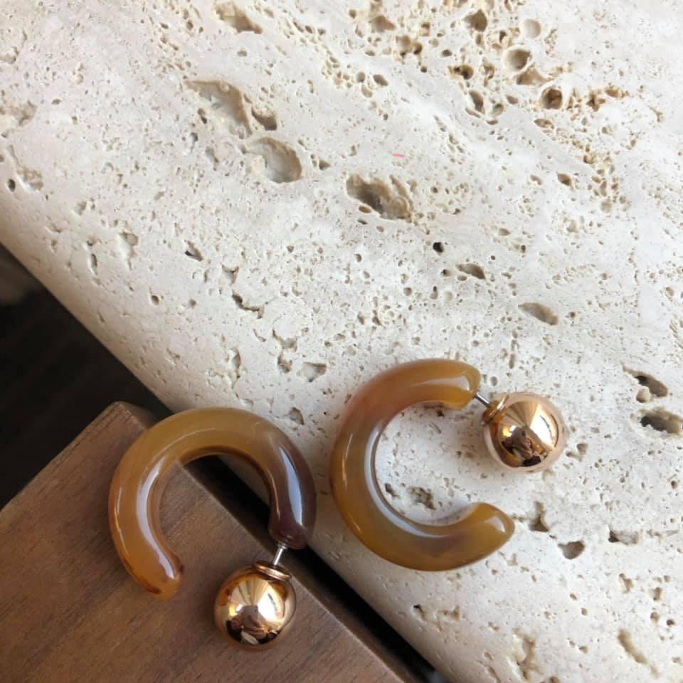 D1264-金屬琥珀耳環(現貨)