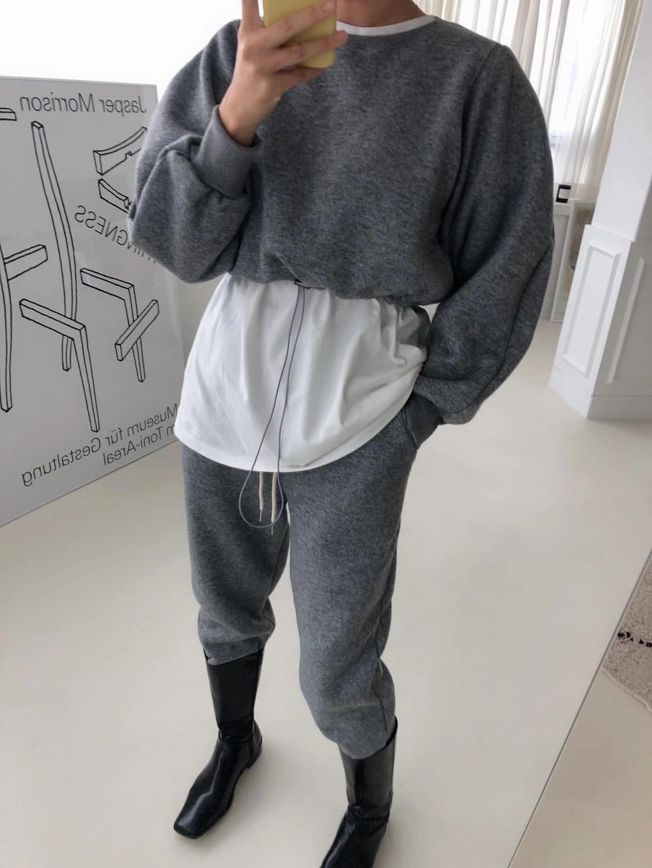 D201227-短版立體蓬袖上衣-灰 (現貨)