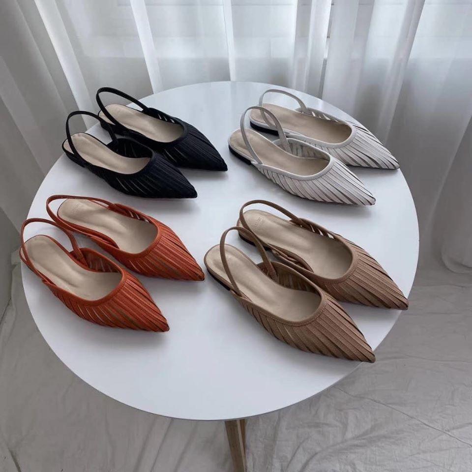 F200228-直紋縷空穆勒鞋 (預購)