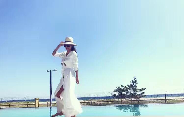 **H46-設計感露腰長版洋裝(現貨)