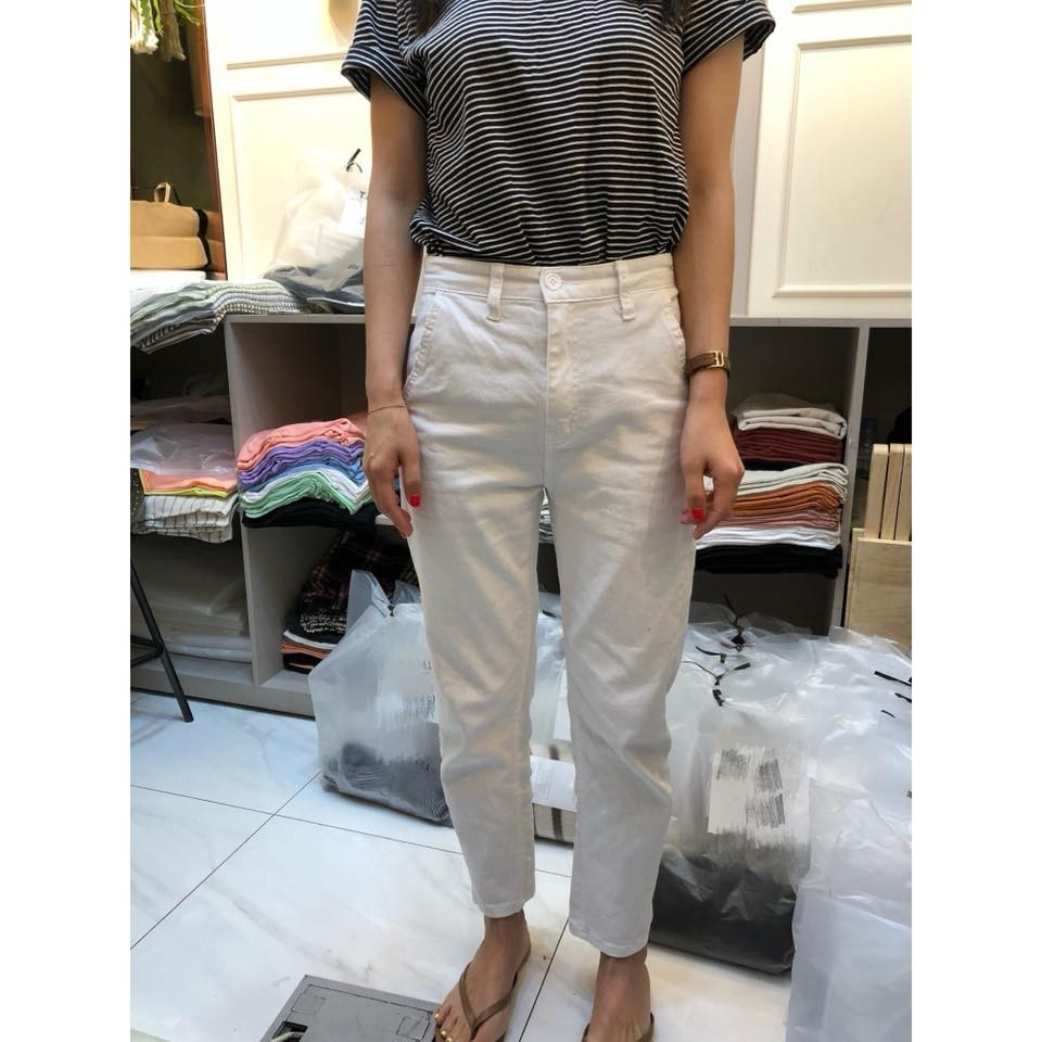 **J0736-白色彈性直筒褲-S(現貨)