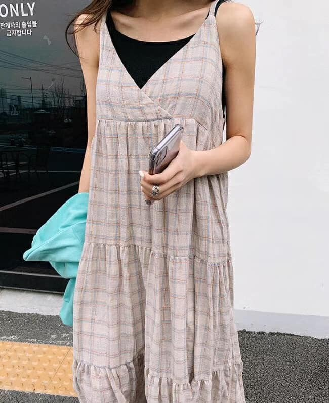 J200721-細肩格紋長洋裝