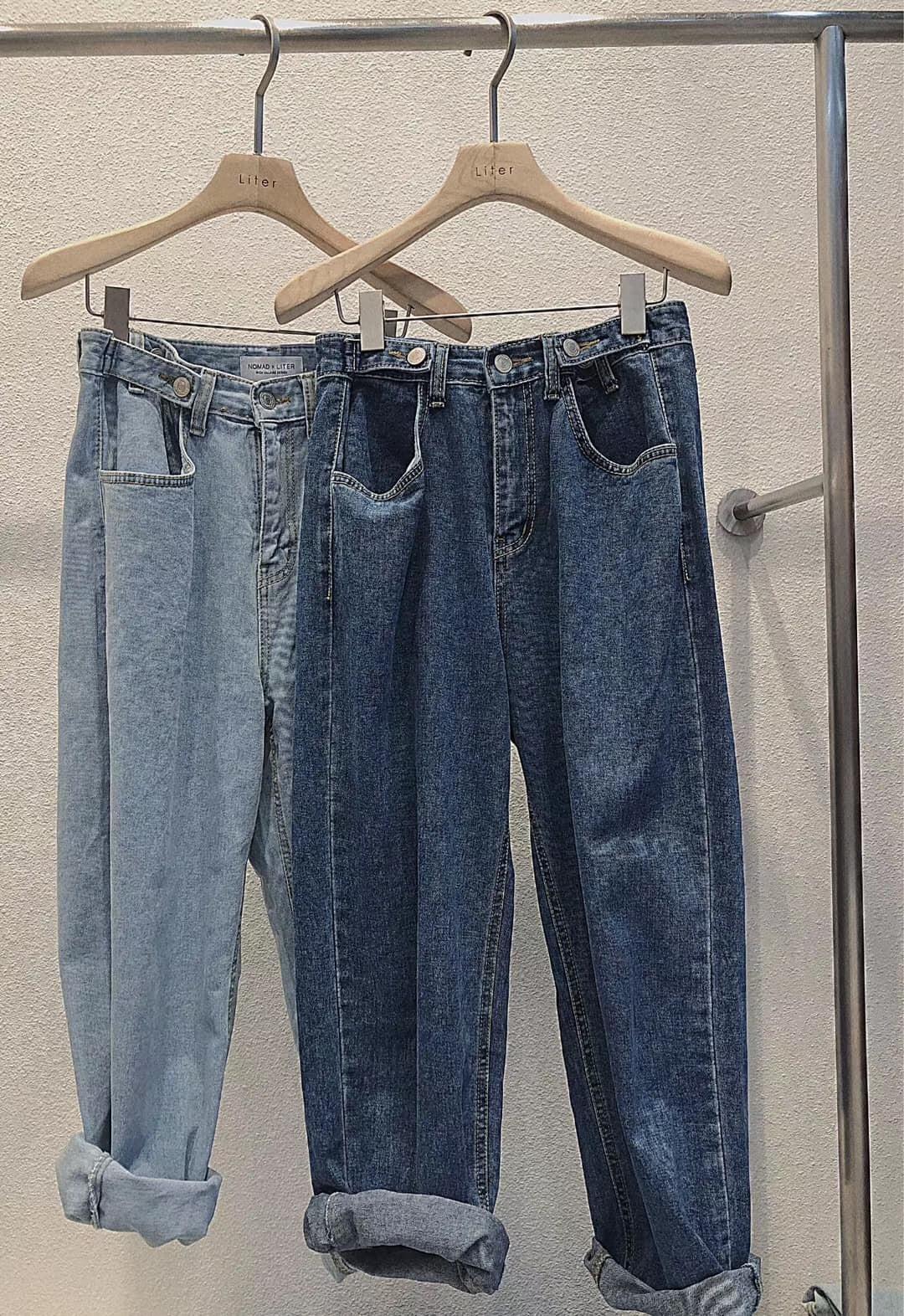 J200722-挺版直筒丹寧寬褲 (現貨)