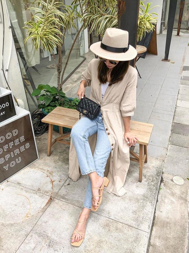 **J9733-開襟七分袖洋裝/罩衫-亞麻 (現貨)