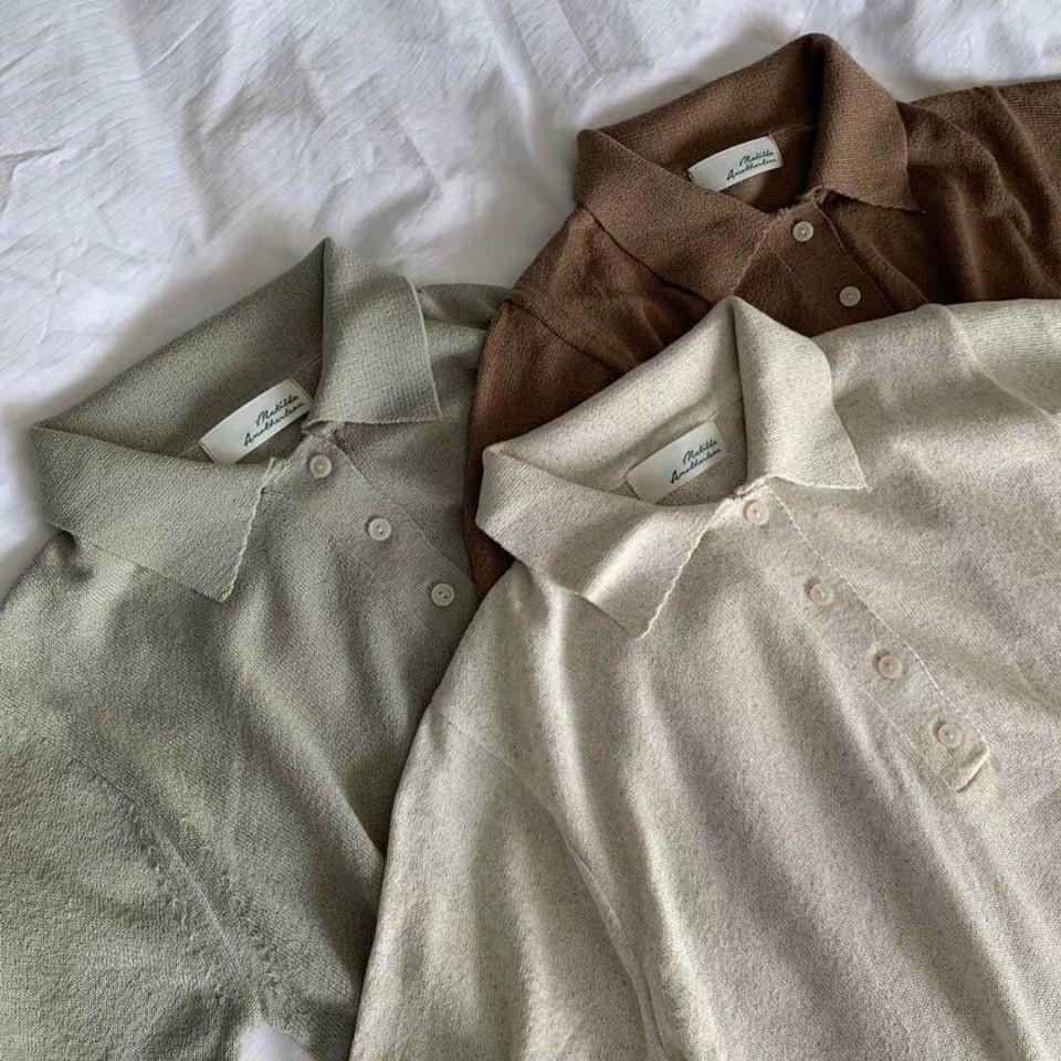M200528-針織復古Polo衫-咖(現貨)