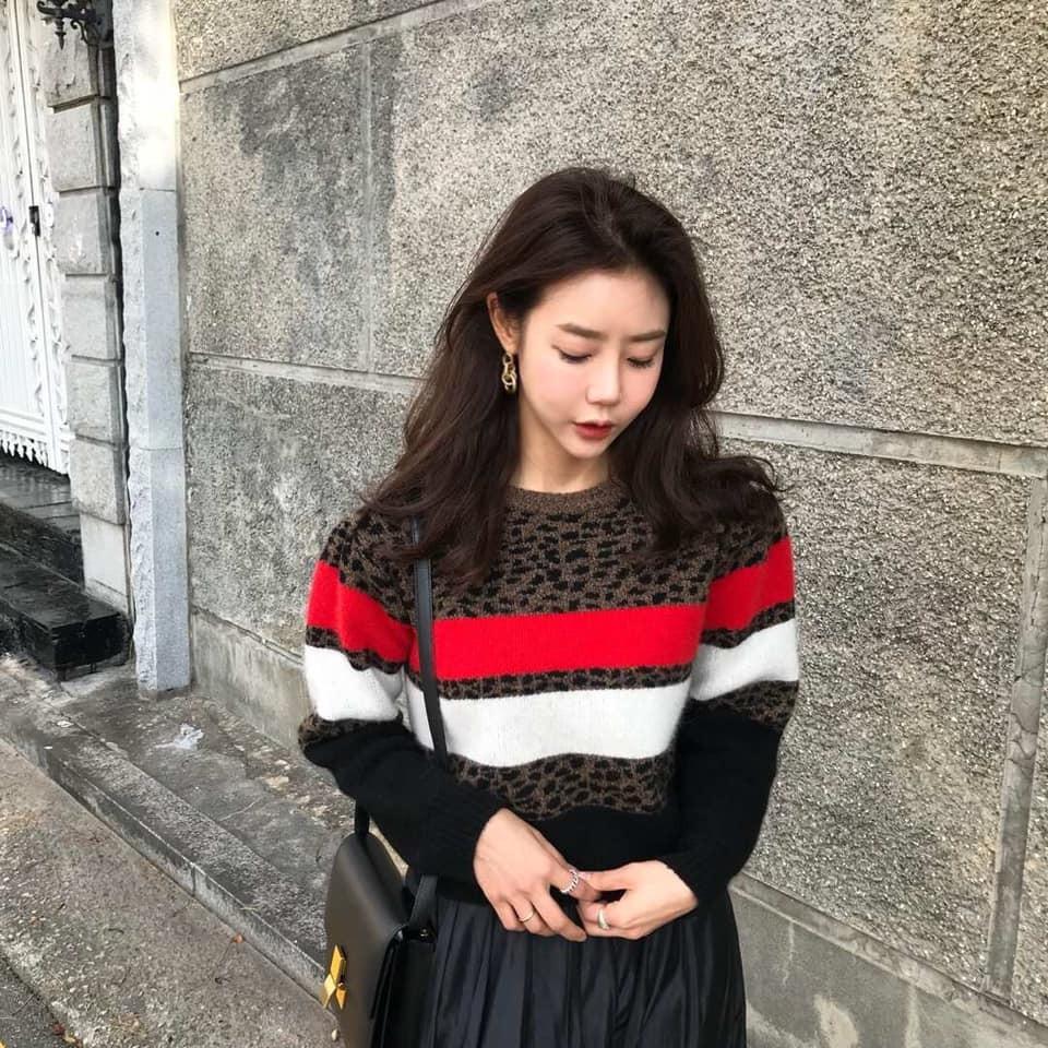 N1134-豹紋撞色羊毛上衣(現貨)