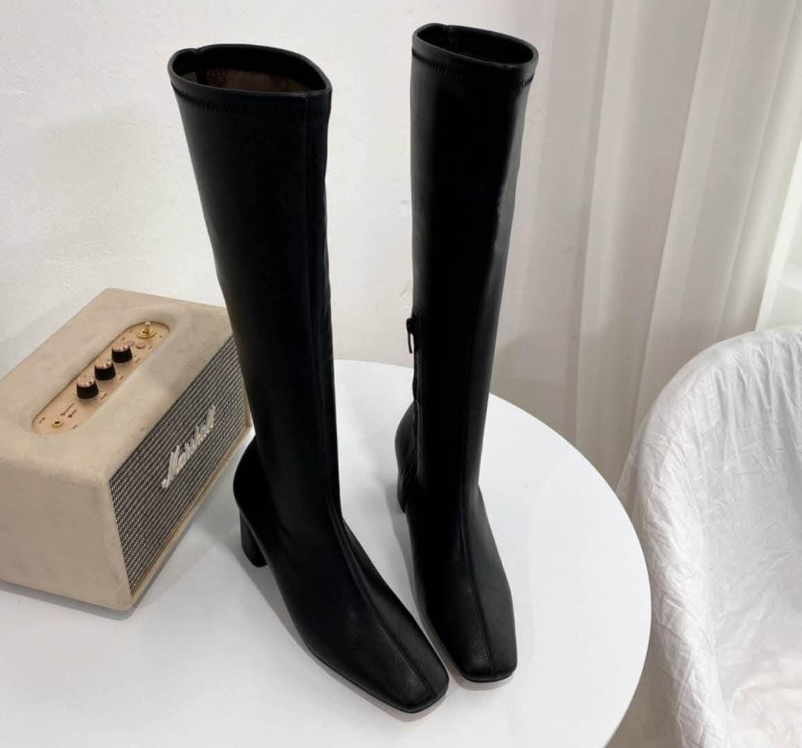 O201036-合身皮質長靴 (預購)