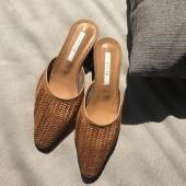 P37-編織穆勒鞋-咖(現貨)