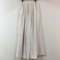 H48-棉麻長圓裙(米色)(現貨)