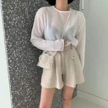 J200706-鬆緊寬褲裙-亞麻 (現貨)