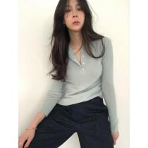 J210120-亨利領羊毛上衣-藍 (現貨)