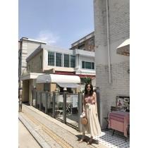**JS20-飄逸麻棉綁帶裙-米 (現貨)