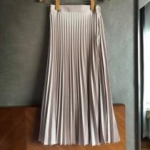 N1135-鍛面香檳色百摺裙(現貨)