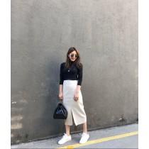 N91121-修身皮質直裙 (預購)