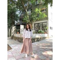 O91012-鬆緊光澤細百摺裙 (預購)