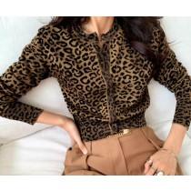 S200931-豹紋亮面針織外套 (現貨)
