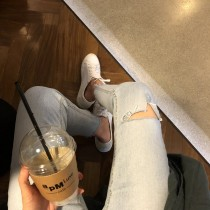 SJ15-淺色刷破丹寧褲-M(現貨)